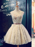 A-line Scoop Tulle Short Prom Dress Juniors Homecoming Dresses SKY331