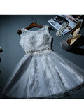 A-line Scoop Tulle Short Prom Dress Juniors Homecoming Dresses SKY332