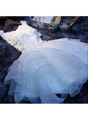 A-line Scoop Organza Short Prom Dress Juniors Homecoming Dresses SKY333