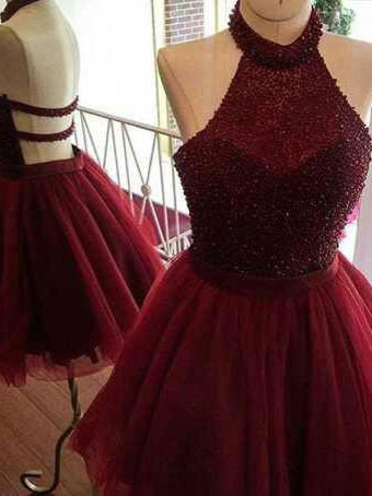 2017 A-line Halter Burgundy Short Homecoming Dress Cooktail Dress SKY334