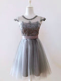 A-line Scoop Short/Mini Prom Dress Juniors Homecoming Dresses SKY337