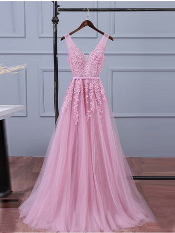 A-line V-neck Long Prom Drsess Evening Tulle Party Dresses SKY340