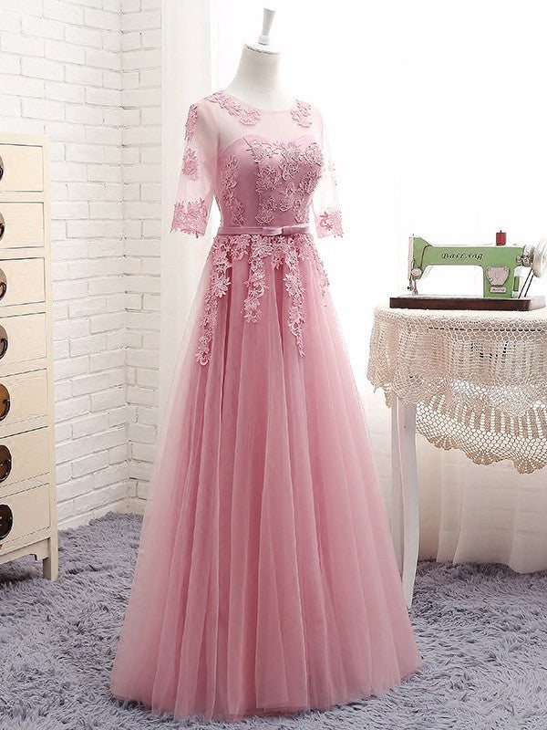 A-line Scoop Long Prom Drsess Evening Tulle Party Dresses SKY342