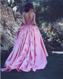 A-line Straps Long Prom Drsess Evening Satin Party Dresses SKY349