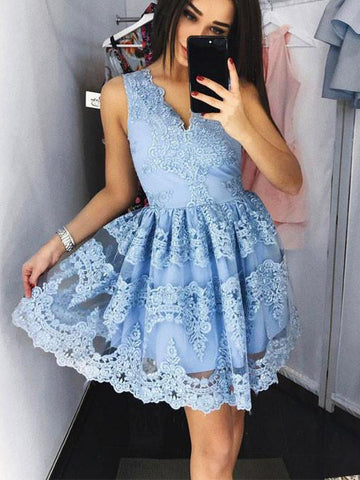Homecoming Dress 2017 A-line V-neck Tulle Homecoming Dresses SKY362
