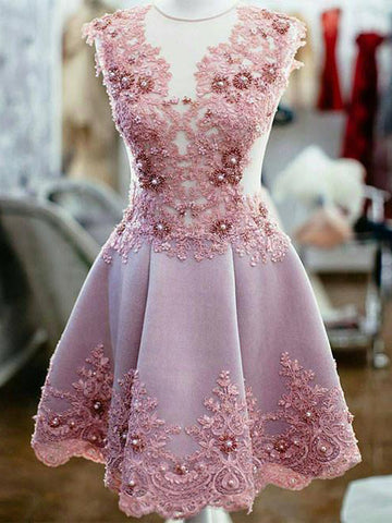 Homecoming Dress 2017 A-line Scoop Tulle Homecoming Dresses SKY365