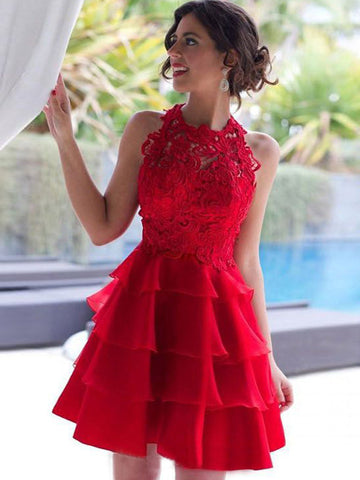 Homecoming Dress 2017 A-line Scoop Red Short Party Dresses SKY367