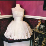 A-line Homecoming Dress Scoop Tulle Short Party Dresses SKY376