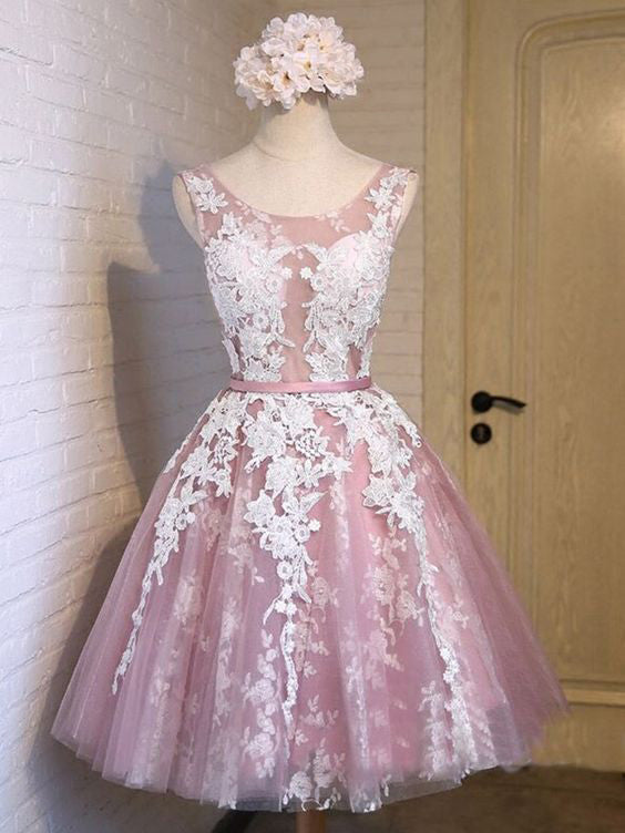 A-line Homecoming Dress Scoop Tulle Short Party Dresses SKY380