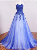 A-line Sweetheart Long Prom Drsess Evening Tulle Party Dresses SKY381