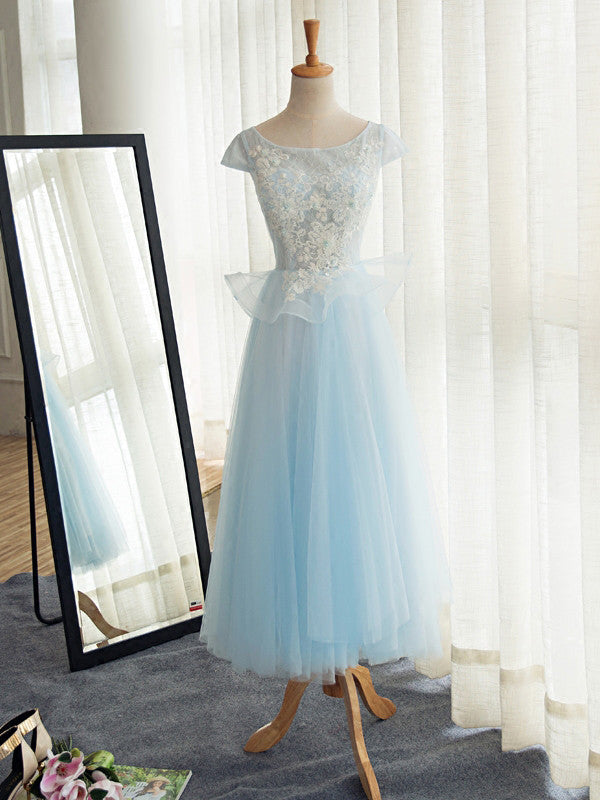 A-line Scoop Long Prom Drsess Evening Tulle Party Dresses SKY388