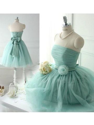 A-line Strapless Short Prom Dresses Cheap Bridesmaid Dress SKY390