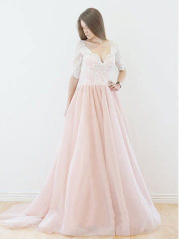 Lace Wedding Dress,Romantic Wedding Dress,Pink Wedding Dress,Wedding Gowns SKY400