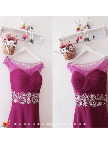 A-line Bateau Floor-length Bridesmaid Dresses Prom Gowns Dress SKY411
