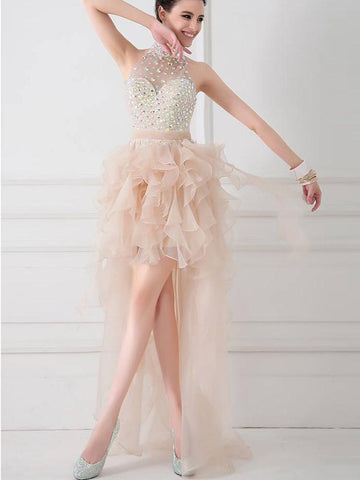 A-line High Neck Short Prom Drsess Prom Dress SKY420