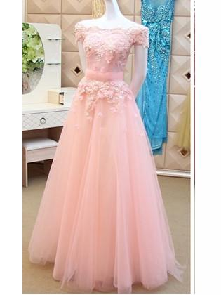 A-line Off-the-shoulder Tulle Prom Dress Bridesmaid Dress SKY424