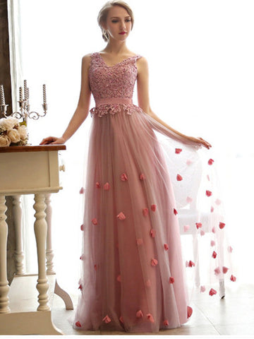 A-line V-neck Tulle Appliques Prom Dress/Evening Dresses SKY297