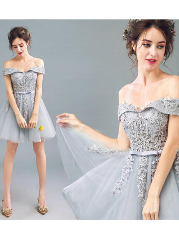 A-line Off-the-shoulder Tulle Short Prom Drsess Homecoming Dress SKY438