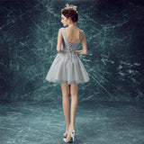 2017 A-line V-neck Tulle Short Prom Drsess Homecoming Dress SKY439