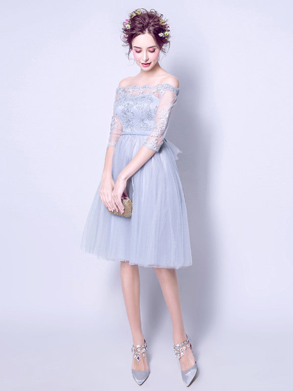 2017 A-line Off-the-shoulder Tulle Short Prom Drsess Homecoming Dress SKY440