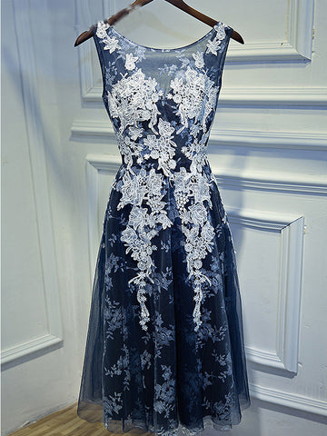 2017 A-line Scoop Appliques Prom Drsess Dark Blue Homecoming Dress SKY479