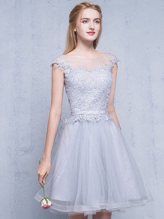 2017 A-line Scoop Tulle Prom Drsess Homecoming Dress SKY487