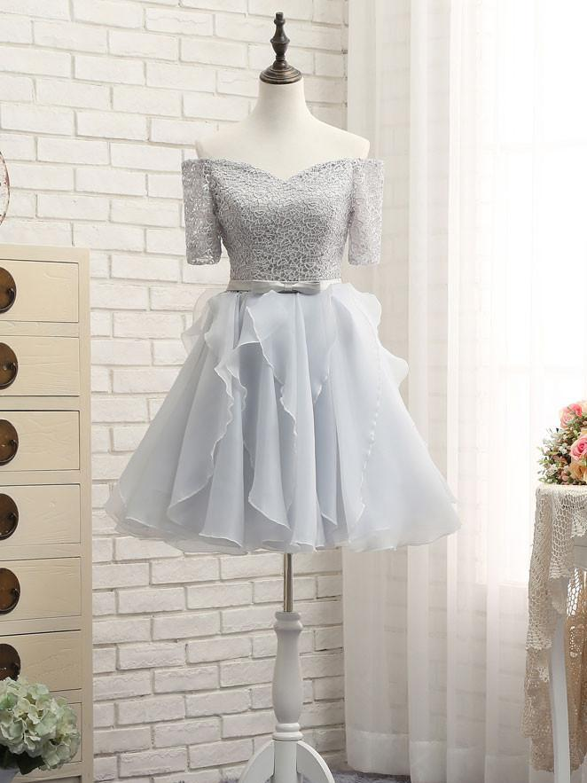 A-line Off-the-shoulder Chiffon Prom Drsess Homecoming Dress SKY492