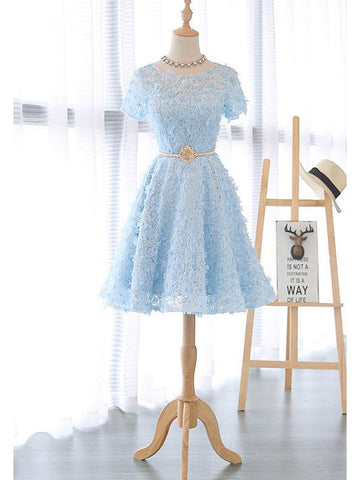 2017 A-line Scoop Tulle Prom Drsess Homecoming Dress SKY493