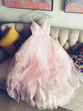 2017 A-line Spaghetti Straps Tulle Pink Prom Drsess/Evening Dress SKY496