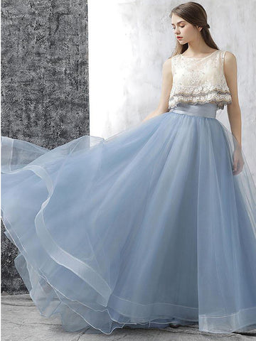 2017 A-line Scoop Tulle Prom Drsess/Evening Dress SKY498