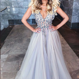 Silver Sparkly Prom Dress Long V neck Beaded A-line Prom Dress/Evening Dresses Formal Gowns SKY503