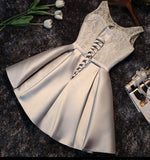 2017 A-line Scoop Satin Prom Drsess Homecoming Dress With Lace SKY514