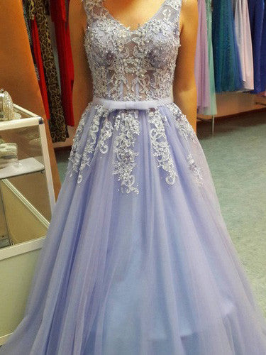 2017 A-line V-neck Long Prom Drsess Tulle Evening Gowns SKY560