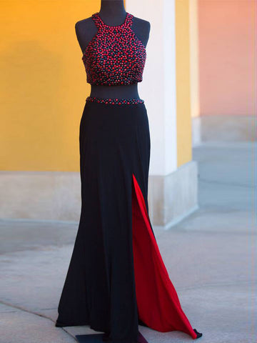 Two Pieces Sheath/Column Scoop Prom Drsess 2017 Evening Gowns SKY572