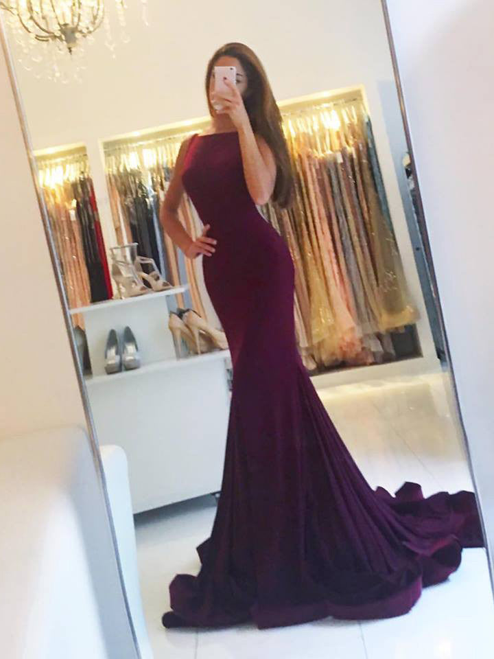 Trumpet/Mermaid Bateau Prom Drsess 2017 Evening Gowns SKY573