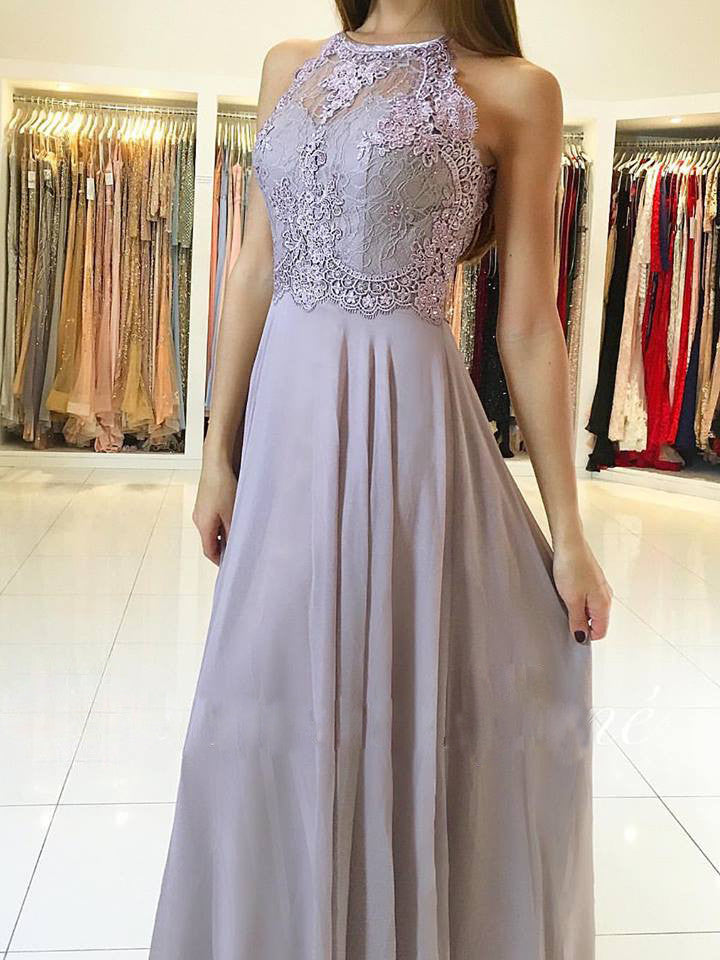 A-line Scoop Floor-length Prom Drsess 2017 Evening Gowns SKY576