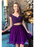 A-line V-neck Short Prom Drsess Juniors Homecoming Dresses SKY586