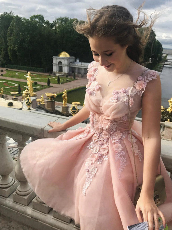 A-line Scoop Short Prom Drsess Juniors Homecoming Dresses SKY588