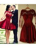 A-line Burgundy Scoop Short Prom Drsess Homecoming Dress With Lace SKY611