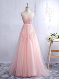 2017 Prom Dress Scoop A-line Pink Evening Dresses SKY617