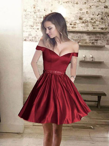 A-line Off-the-shoulder Homecoming Dress Burgundy Short Prom Drsess SKY645