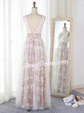 A-line V-neck Floor Length Tulle Prom Drsess Evening Gowns With Lace SKY647