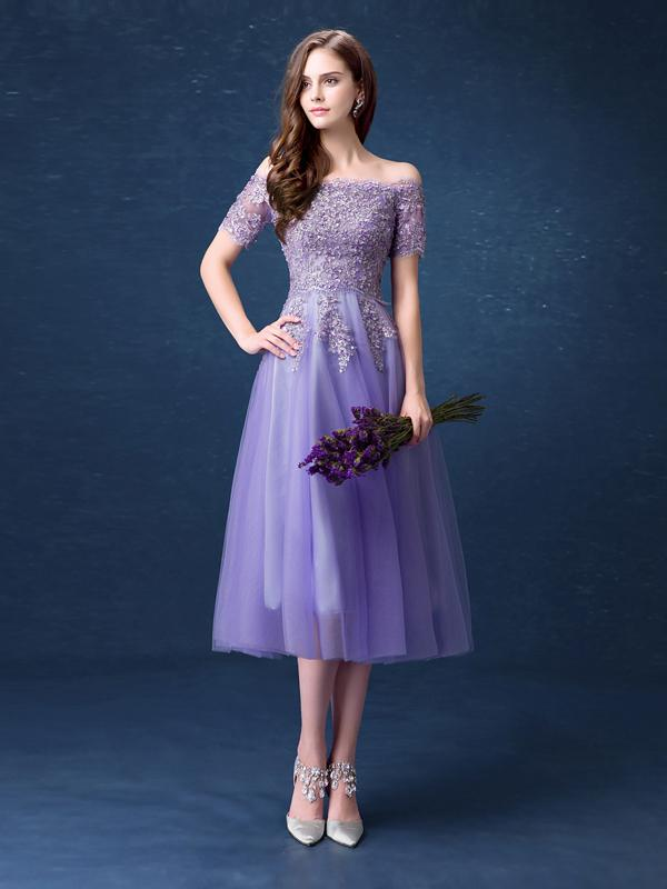 A-line Off-the-shoulder Short Prom Drsess Homecoming Dresses SKY650
