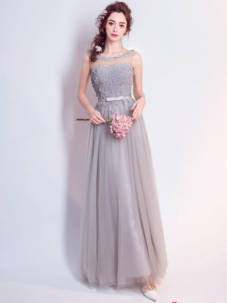 A-line Scoop Floor Length Tulle Prom Drsess Evening Gowns With Appliques SKY651