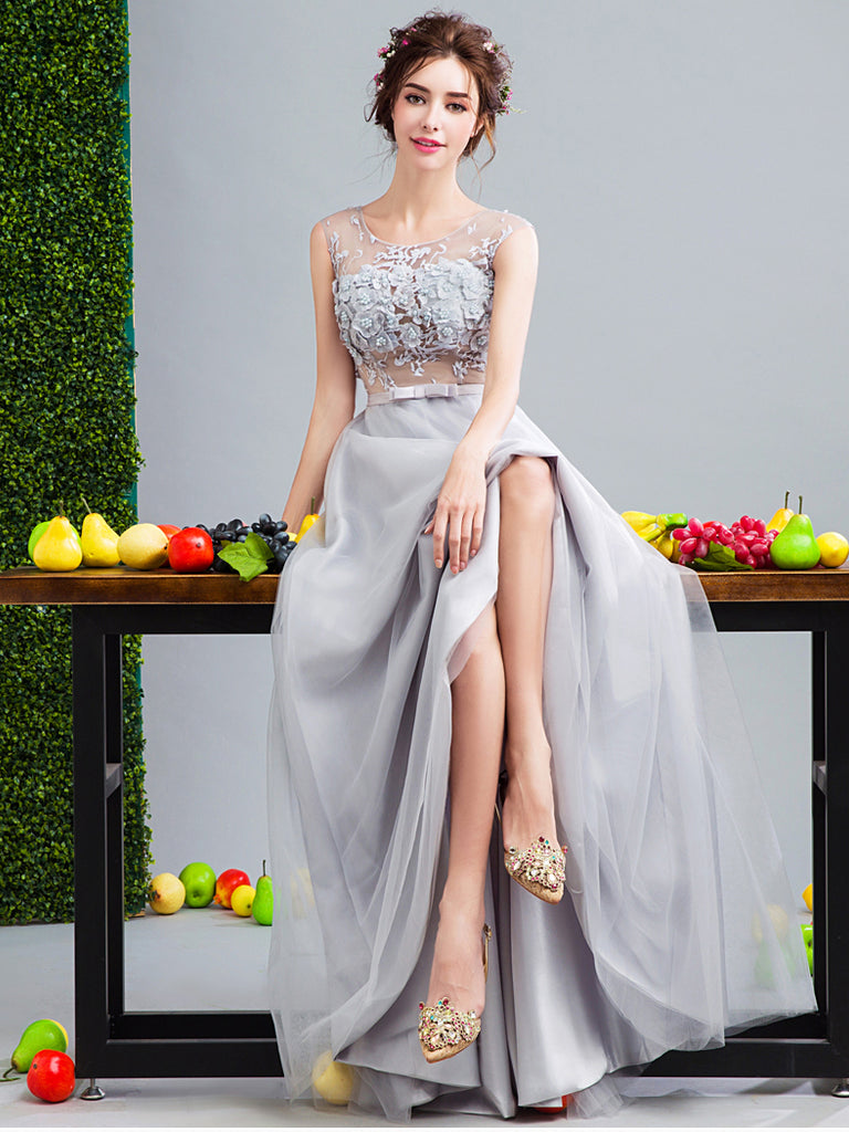 A-line Scoop Floor Length Tulle Prom Drsess Evening Gowns With Lace SKY656