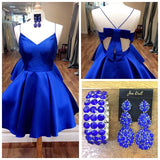 A-line Spaghetti Straps Homecoming Dress Royal Blue Short Prom Drsess SKY693