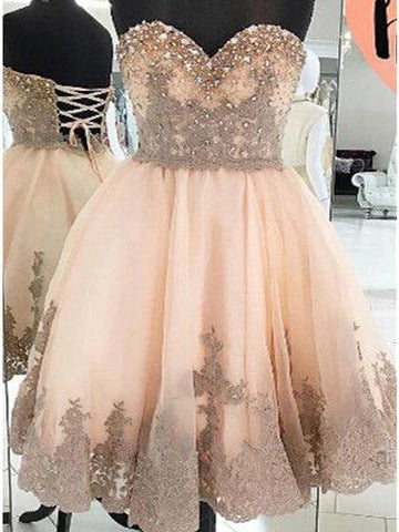 2017 Charming Homecoming Dresses A-line Short Prom Dress SKY695