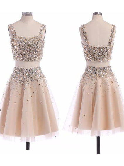 Cute A-line Two Pieces Homecoming Dress Short Prom Drsess SKY697