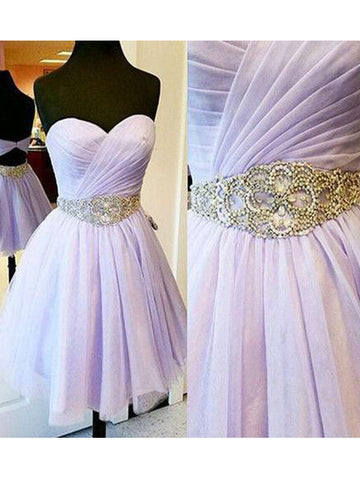 A-line Sweetheart Tulle Homecoming Dress Short Prom Drsess SKY698