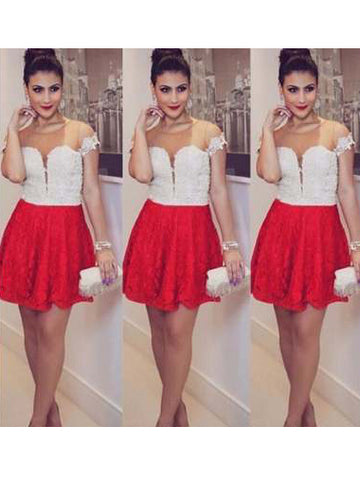 Charming Red Homecoming Dress Scoop Short Prom Drsess With Lace SKY724